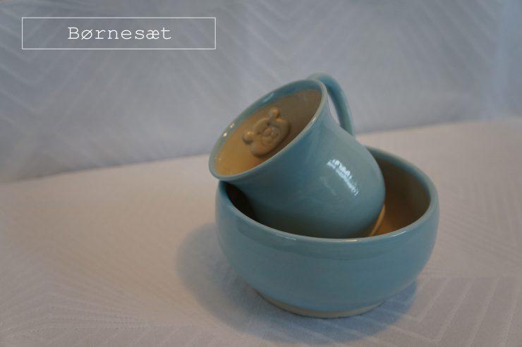 Børnesæt fra Keramiknissen en skål og en kop med figurer