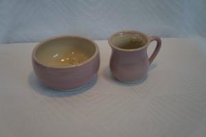 Keramik skål og kop Børnesæt pink pige