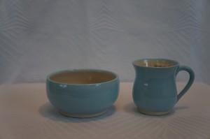 Keramik skål og kop Børnesæt lyseblå dreng
