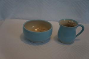 Keramiknissen børnesæt skål og kop lyseblå dreng