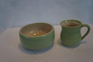 Keramiknissen børnesæt grøn skål og kop